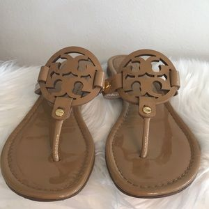 TORY BURCH MILLER TAN PATENT SZ 8 EXCELLENT COND